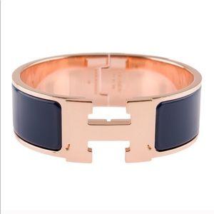 Hermès Clic Clac bangle in navy enamel & rose gold